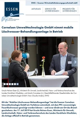 EWG – Cornelsen Umwelttechnologie nimmt mobile Löschwasser-Behandlungsanlage in Betrieb