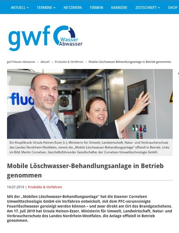 gwf – Mobile Löschwasser-Behandlungsanlage in Betrieb genommen