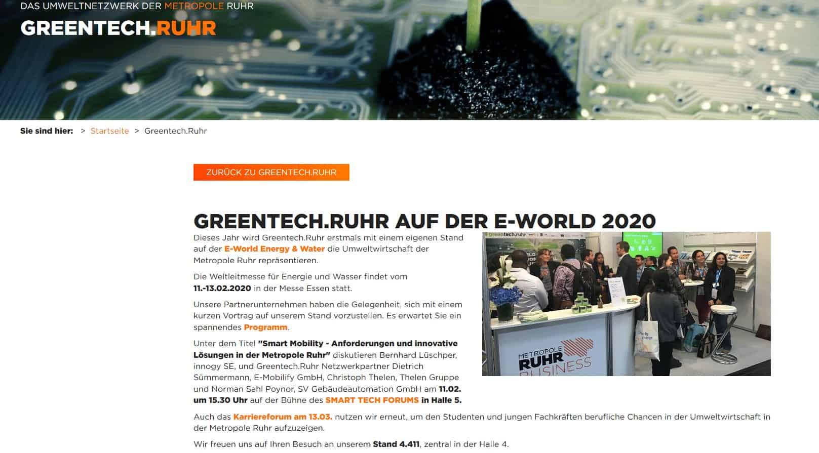GREENTECH.RUHR AUF DER E-WORLD 2020