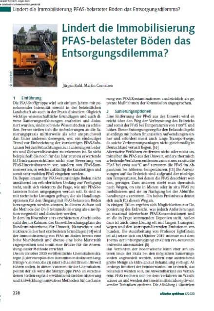 Veröffentlichung des Beitrages von Herr Jürgen Buhl und Herr Martin Cornelsen im altlasten spektrum aus Dezember 2020